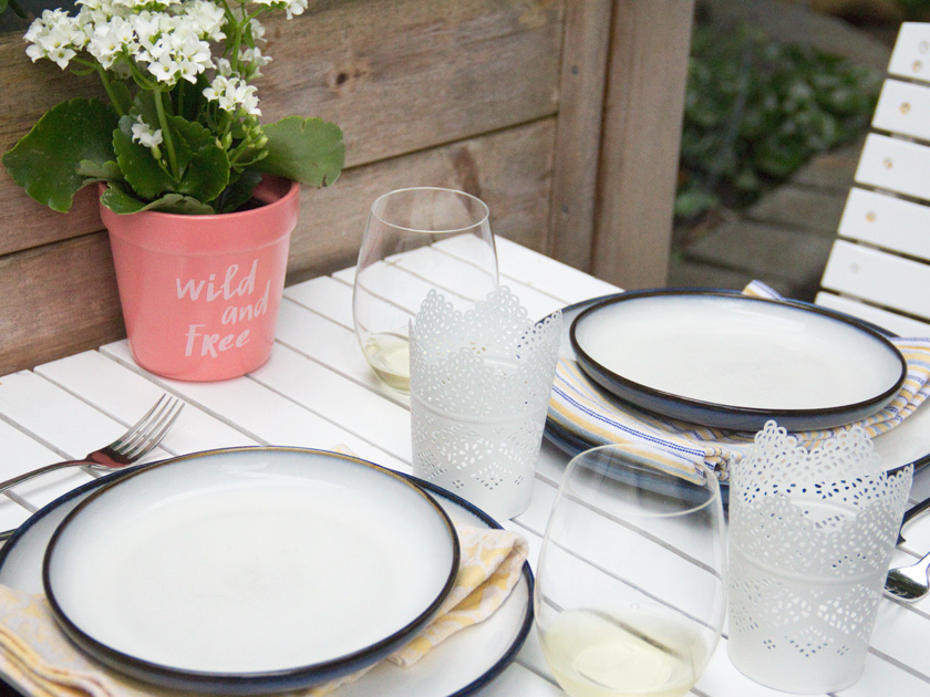 Table set with cloth napkins